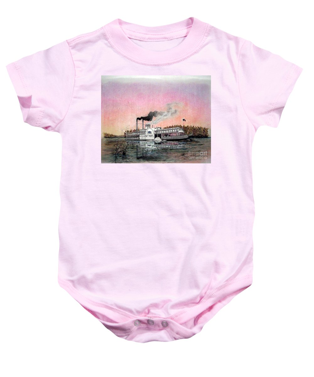 Riverboats Baby Onesie featuring the mixed media Riverboat Saint Paul by Richard Hall
