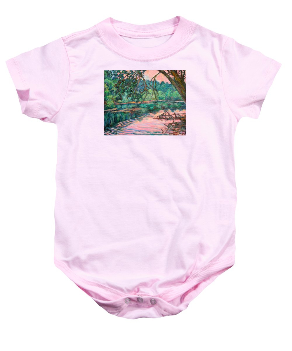 Riverview Park Baby Onesie featuring the painting Riverview at Dusk by Kendall Kessler