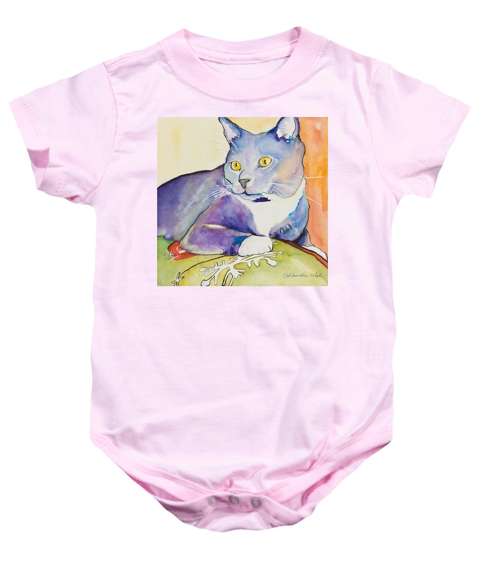 Pat Saunders-white Baby Onesie featuring the painting Rocky by Pat Saunders-White