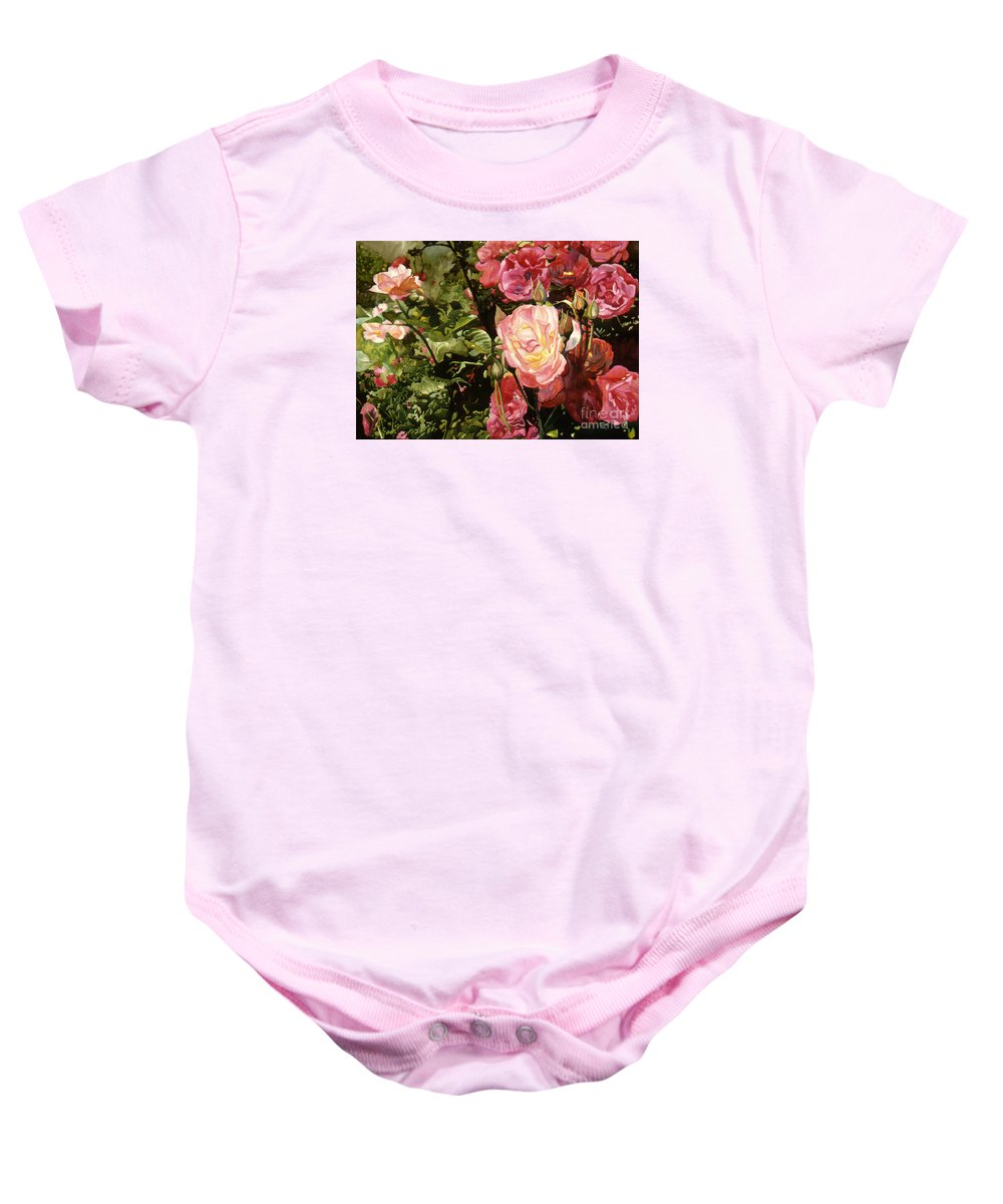 Watercolor Baby Onesie featuring the painting Rose Garden by Teri Starkweather