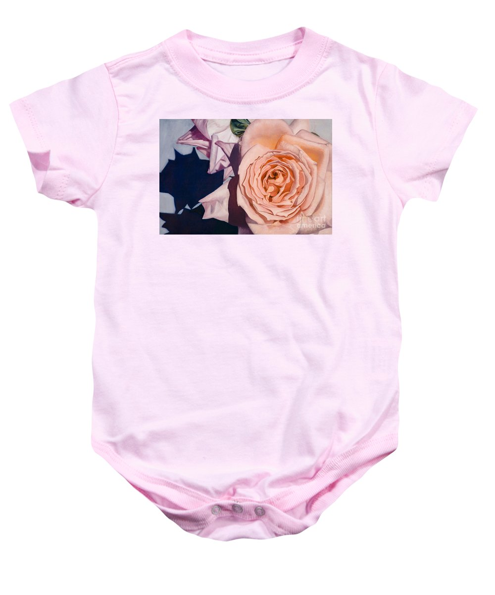 Roses Baby Onesie featuring the painting Rose Splendour by Kerryn Madsen-Pietsch
