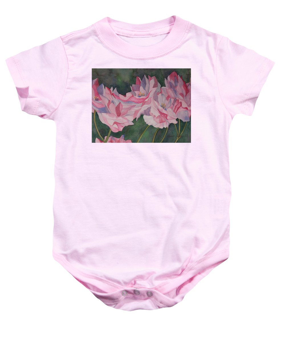 Roses Baby Onesie featuring the painting Roses by Anna Penny