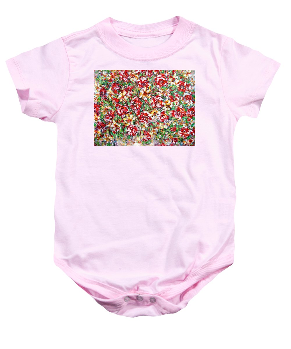 Red Roses Baby Onesie featuring the painting Roses For You by Natalie Holland