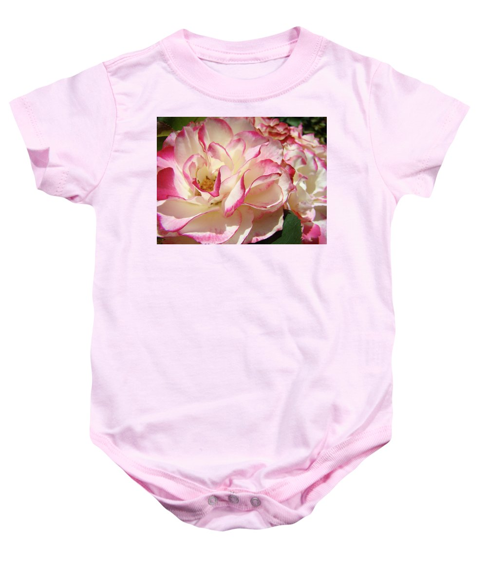 Rose Baby Onesie featuring the photograph Roses Pink White Rose Flowers 4 Rose Garden Artwork Baslee Troutman by Baslee Troutman