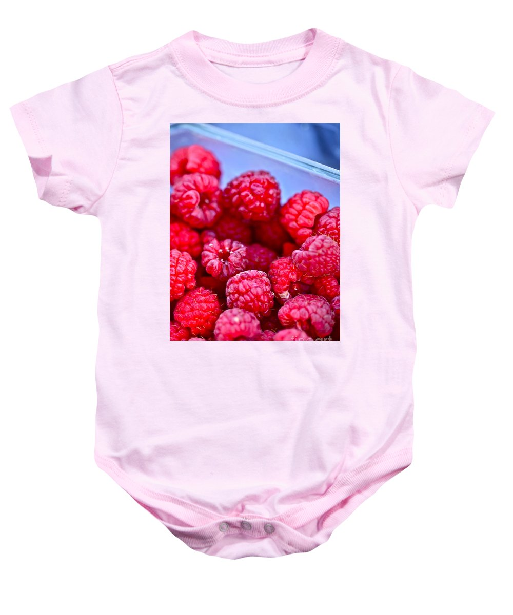 Red Baby Onesie featuring the photograph Ruby Raspberries by Nadine Rippelmeyer