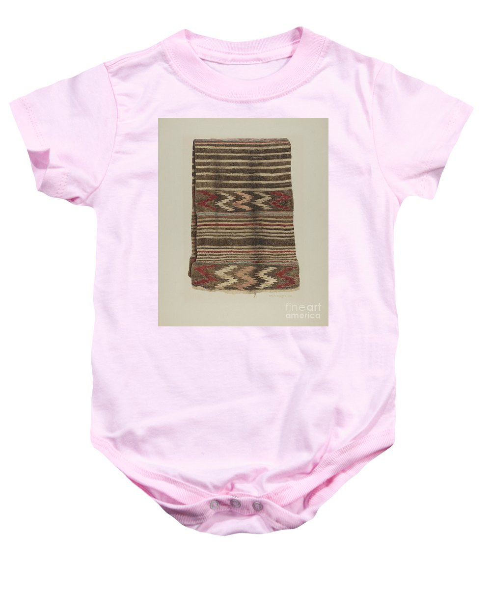 Baby Onesie featuring the drawing Saddle Blanket by Ethel Dougan