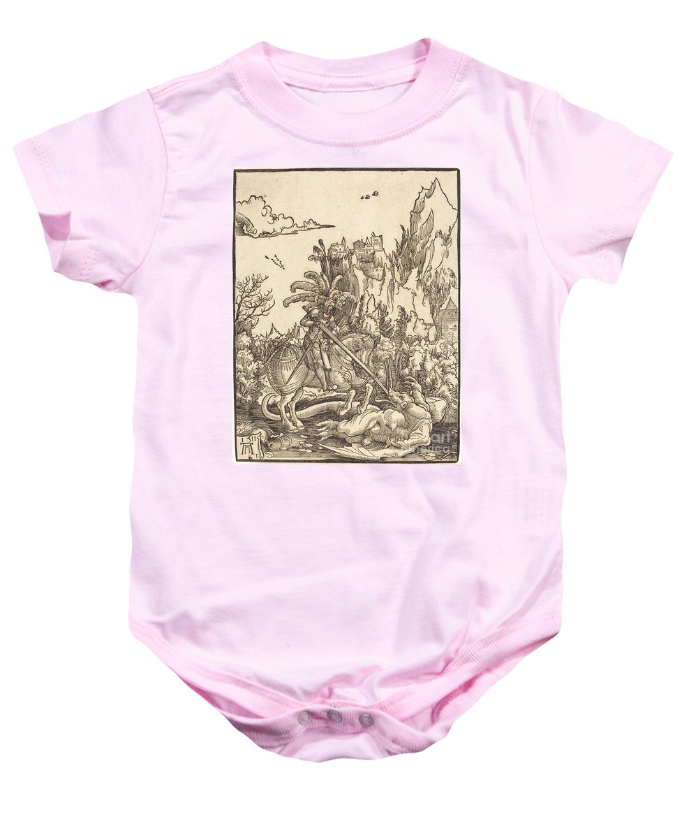 Baby Onesie featuring the drawing Saint George Slaying The Dragon by Albrecht Altdorfer