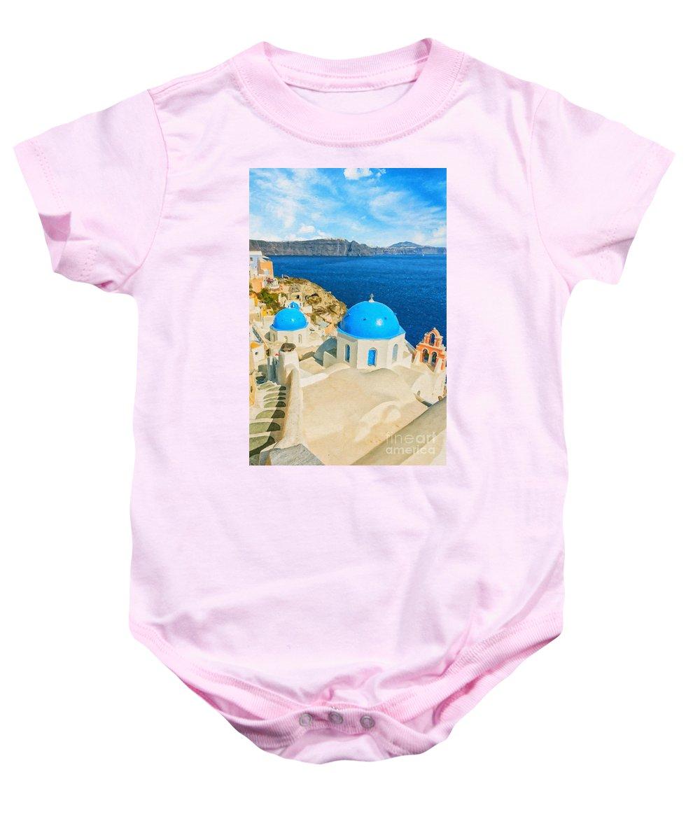 Digital Baby Onesie featuring the painting Santorini Oia Church Caldera View Digital Painting by Antony McAulay