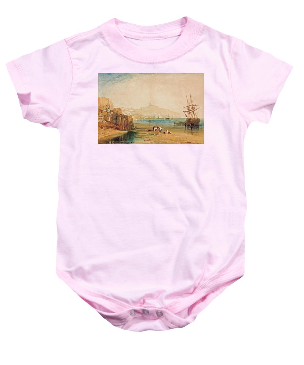William Turner Baby Onesie featuring the painting Scarborough Town And Castle by William Turner