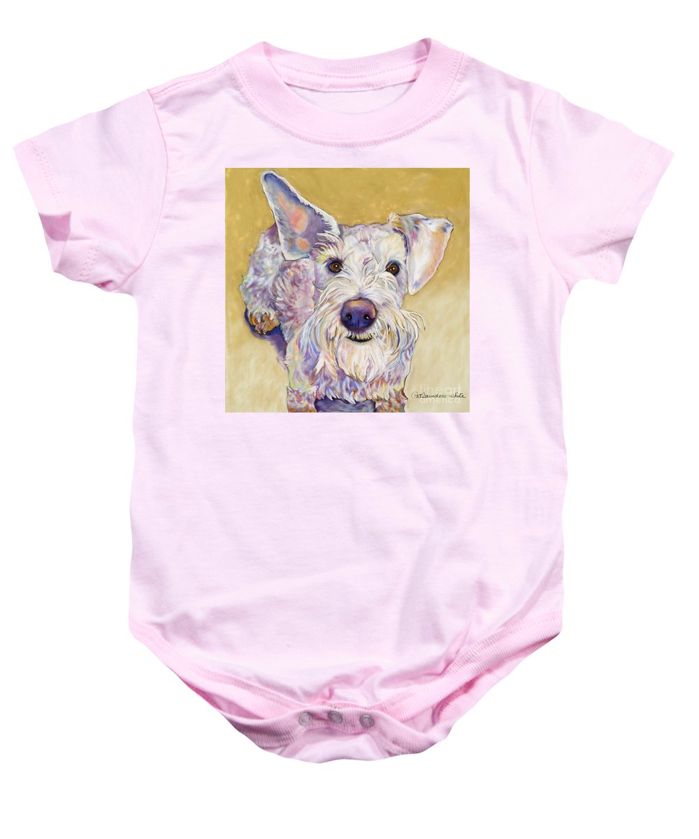 Schnauzer Baby Onesie featuring the pastel Scooter by Pat Saunders-White