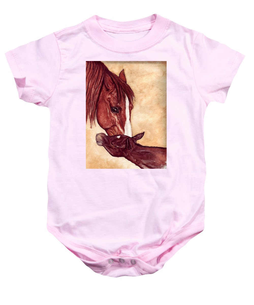 Horse Baby Onesie featuring the painting Scootin by Kristen Wesch