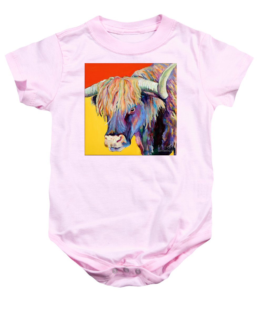 Farm Animal Baby Onesie featuring the painting Scotty by Pat Saunders-White