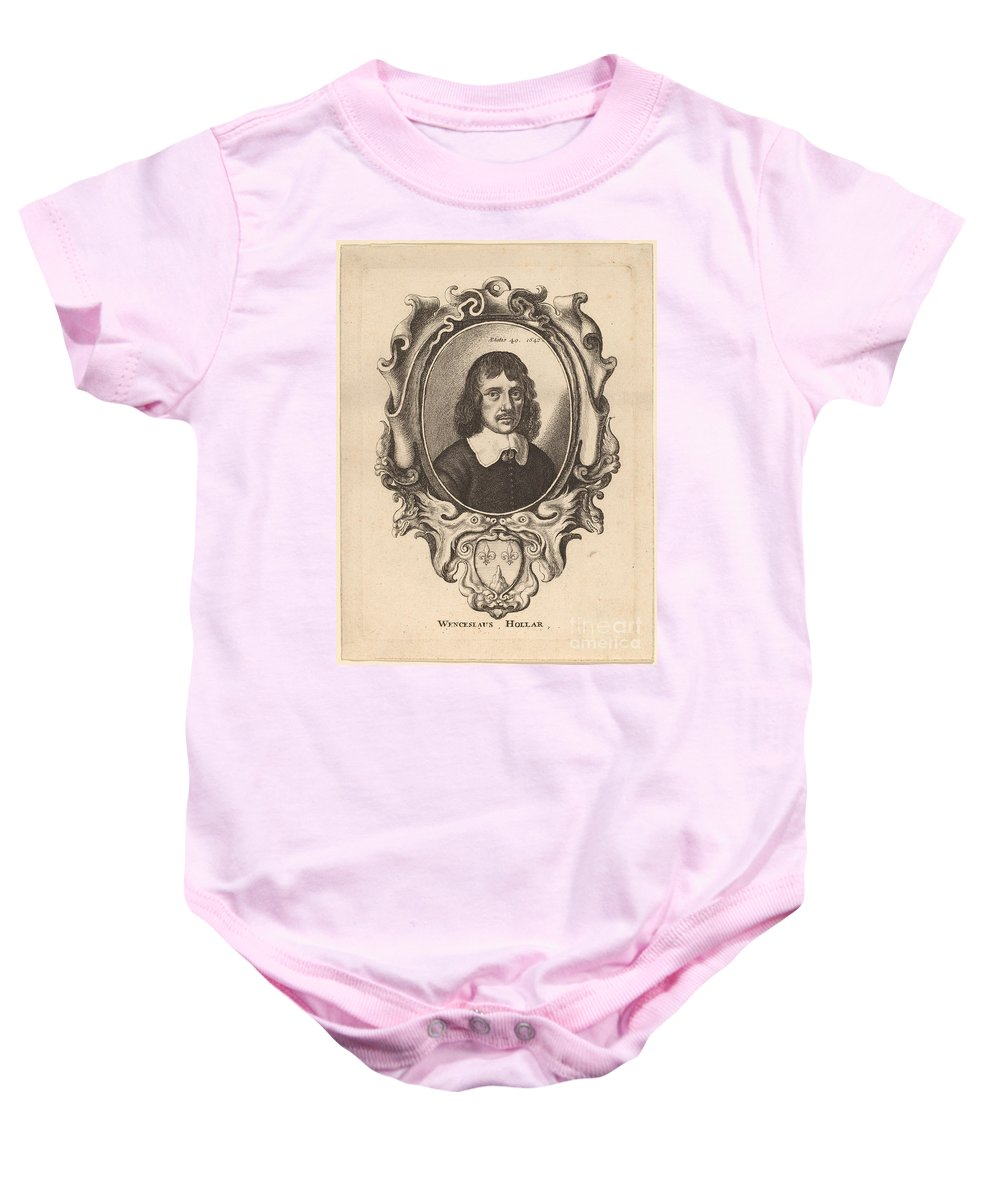Baby Onesie featuring the drawing Self-portrait by Wenceslaus Hollar
