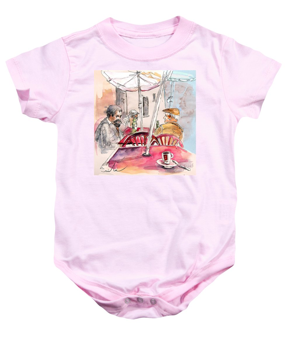 Water Colour Aquarelle Drawings Caricatures From People In Serpa Portugal By Miki Baby Onesie featuring the painting Serpa Portugal 32 by Miki De Goodaboom