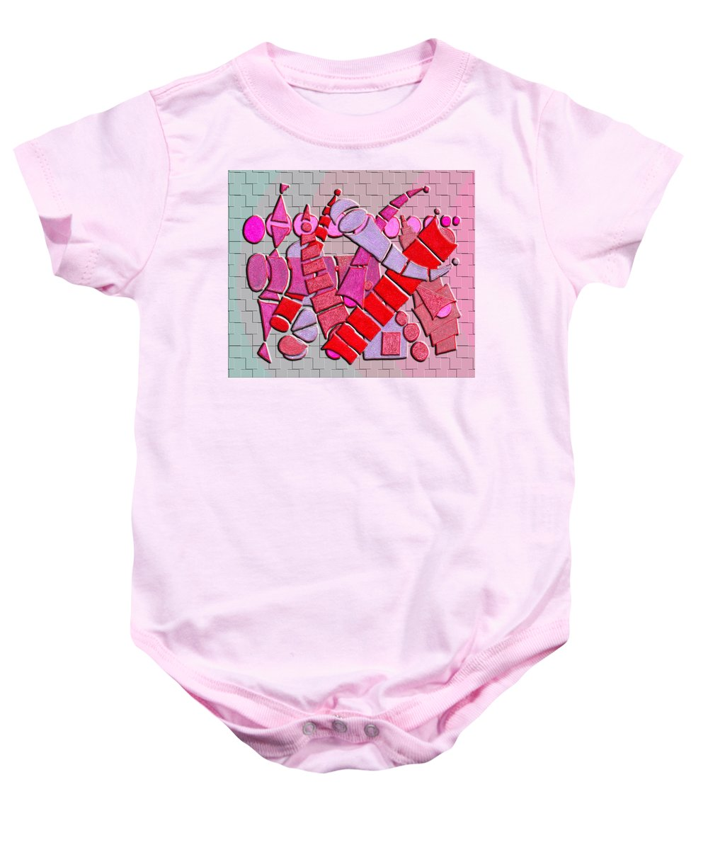 Abstract Baby Onesie featuring the digital art Shape Sets In Red by Mark Sellers