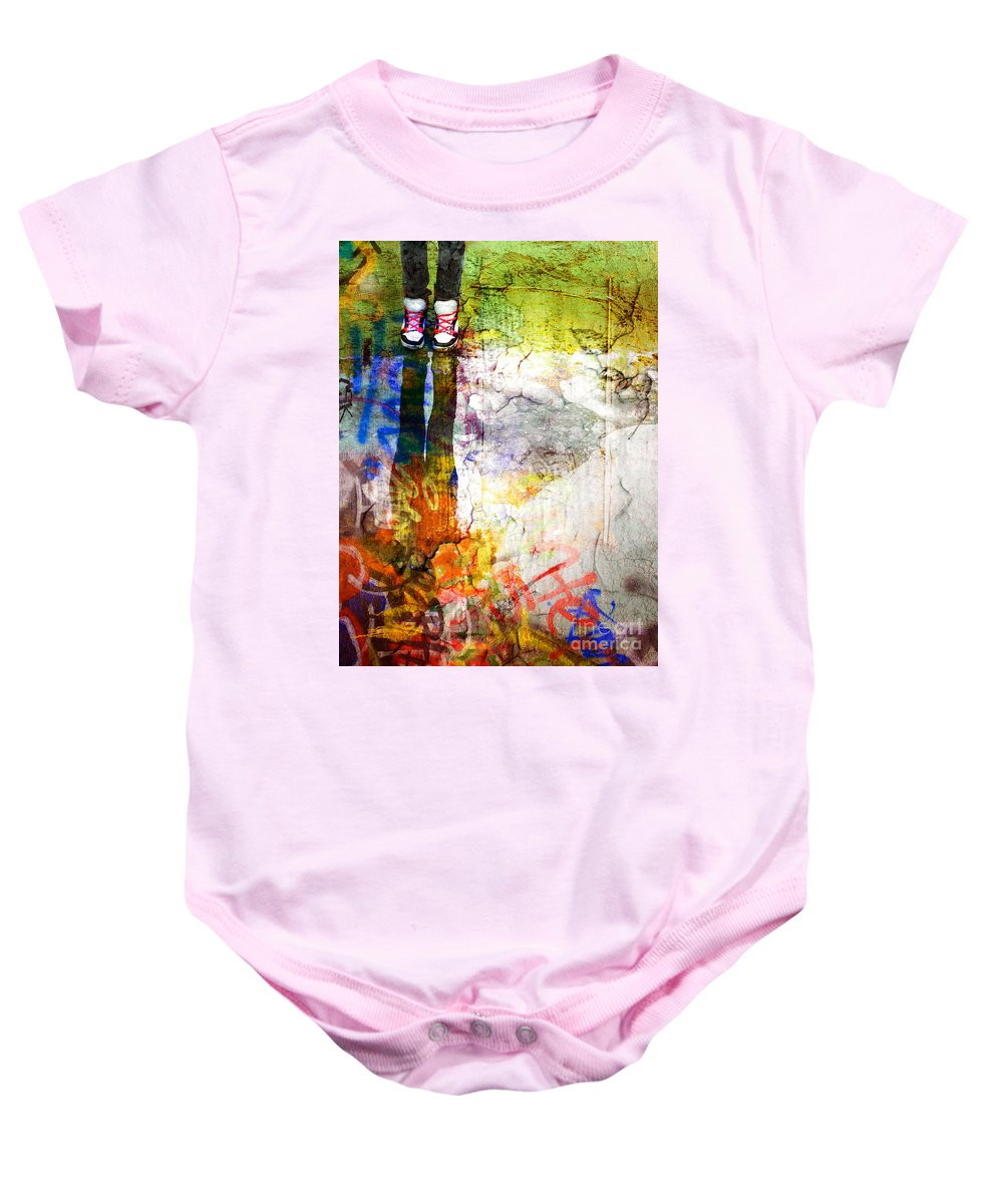 Shoes Baby Onesie featuring the photograph She Lives In A Box Of Paint by Tara Turner