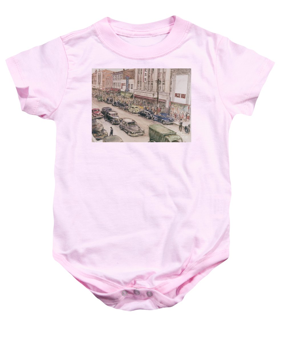 Print Greensboro History Baby Onesie featuring the painting Shopping On Elm St. 1949 by Maggie Clark