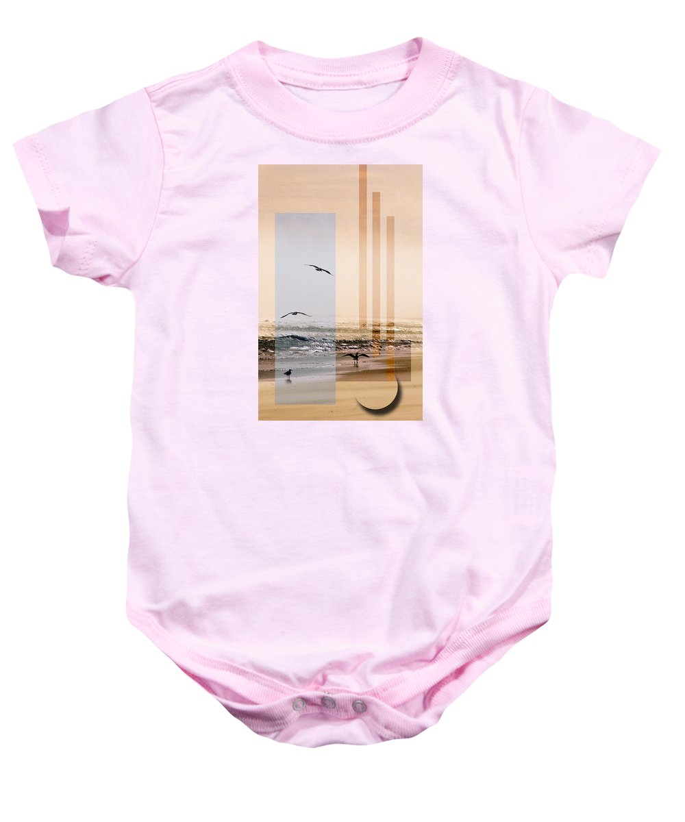 Abstract Baby Onesie featuring the photograph Shore Collage by Steve Karol