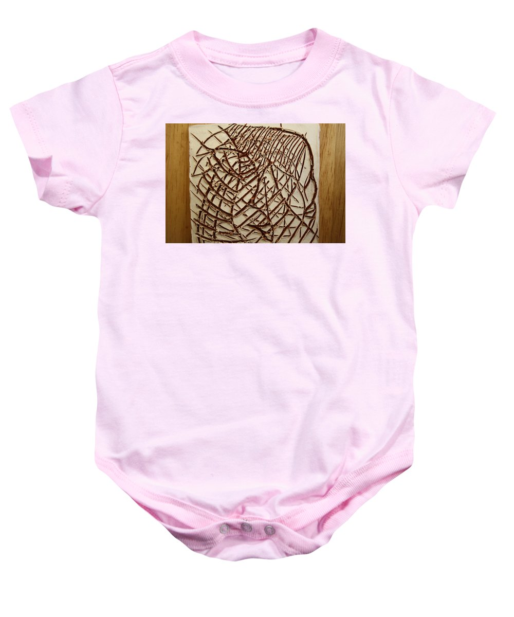 Jesus Baby Onesie featuring the ceramic art Signs - Tile by Gloria Ssali