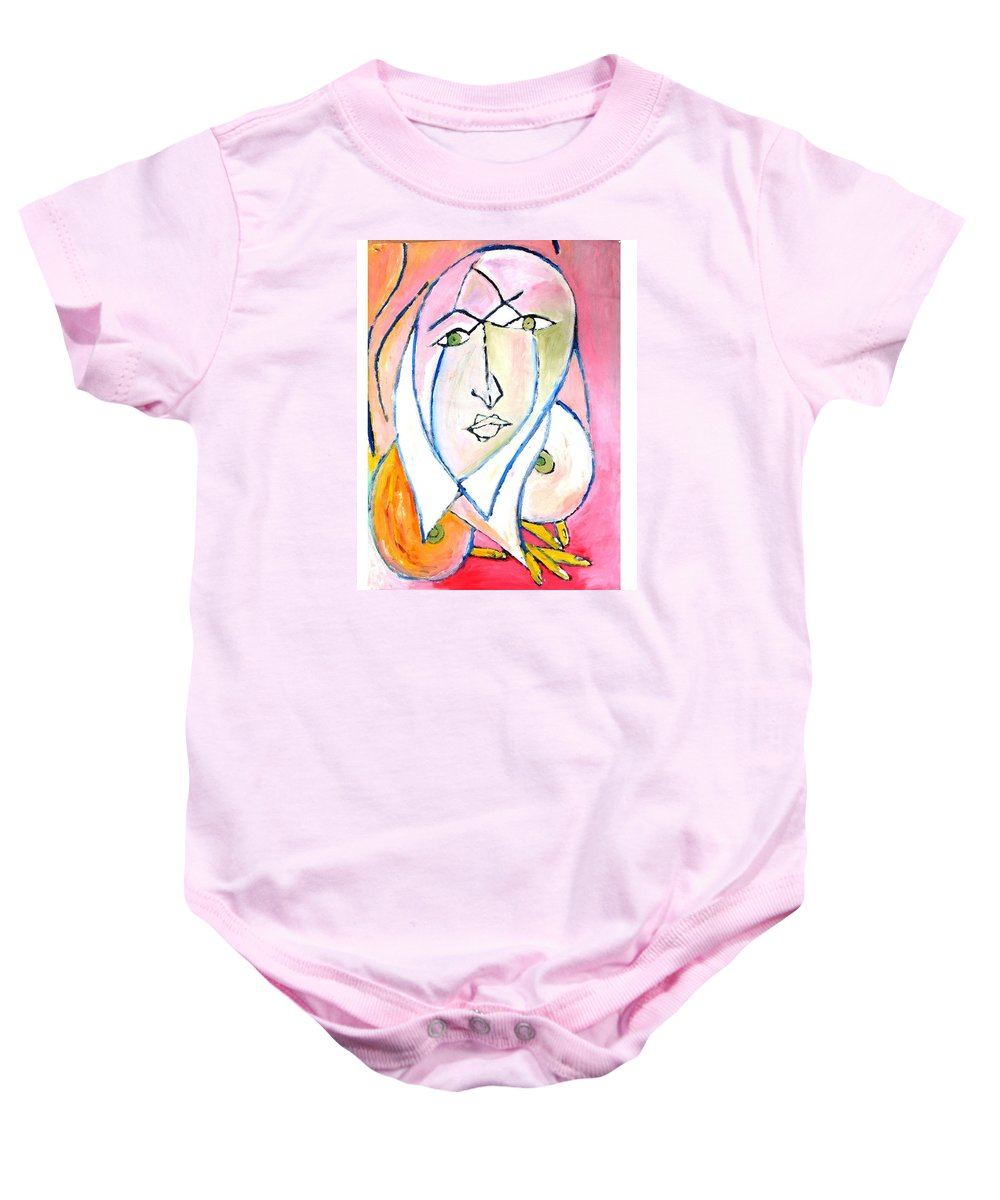 Unavoidable Situation Baby Onesie featuring the painting Skinning.2010. by Ranjith Kk