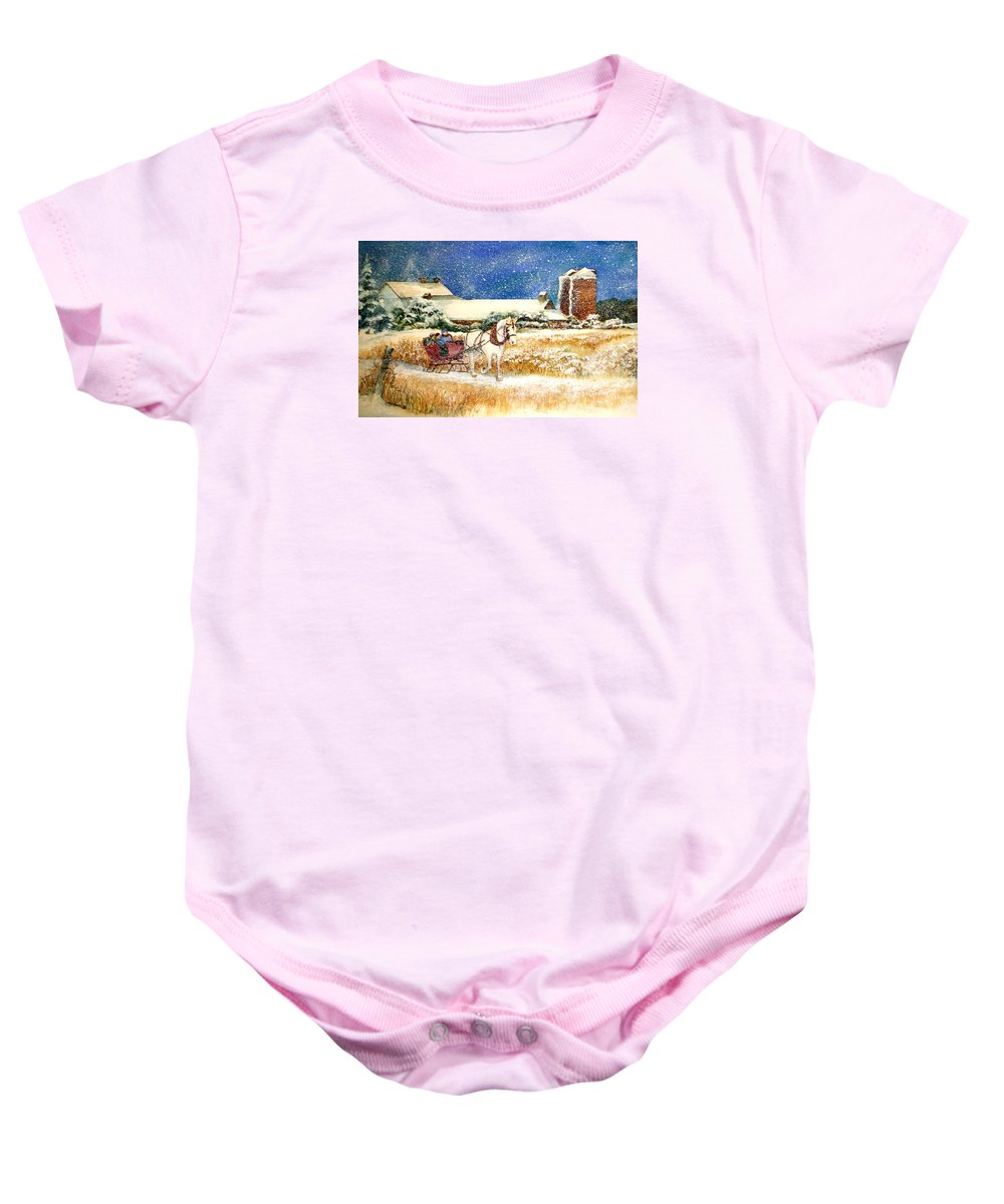 Watercolor;sleigh;horse;barn;silos;winter;snow;sleigh Ride;christmas; Baby Onesie featuring the painting Sleigh Ride at Brickers by Lois Mountz