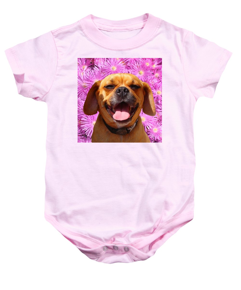 Animal Baby Onesie featuring the painting Smiling Pug by Amy Vangsgard