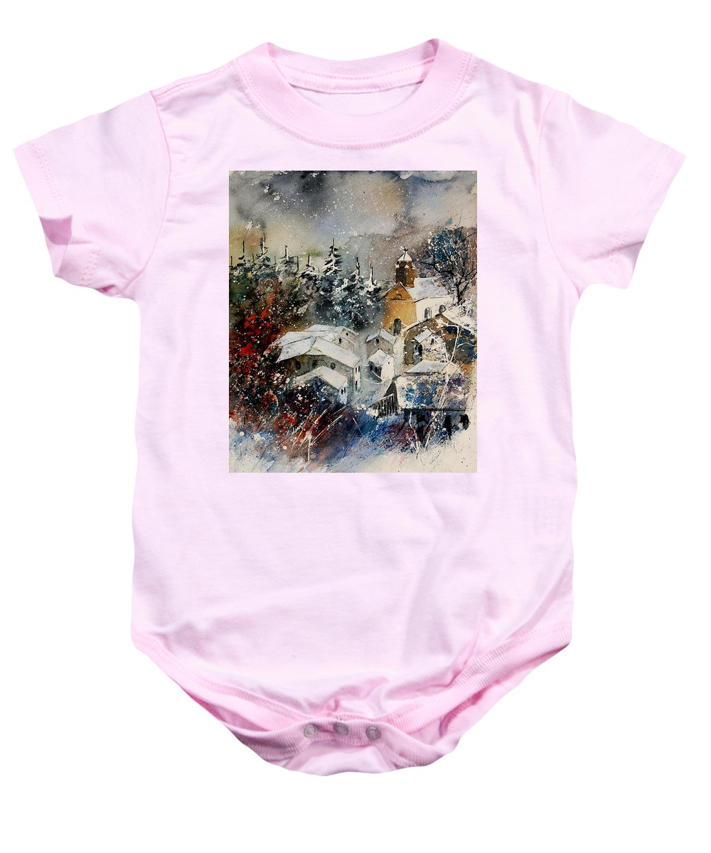 Landscape Baby Onesie featuring the painting Snon In Frahan by Pol Ledent