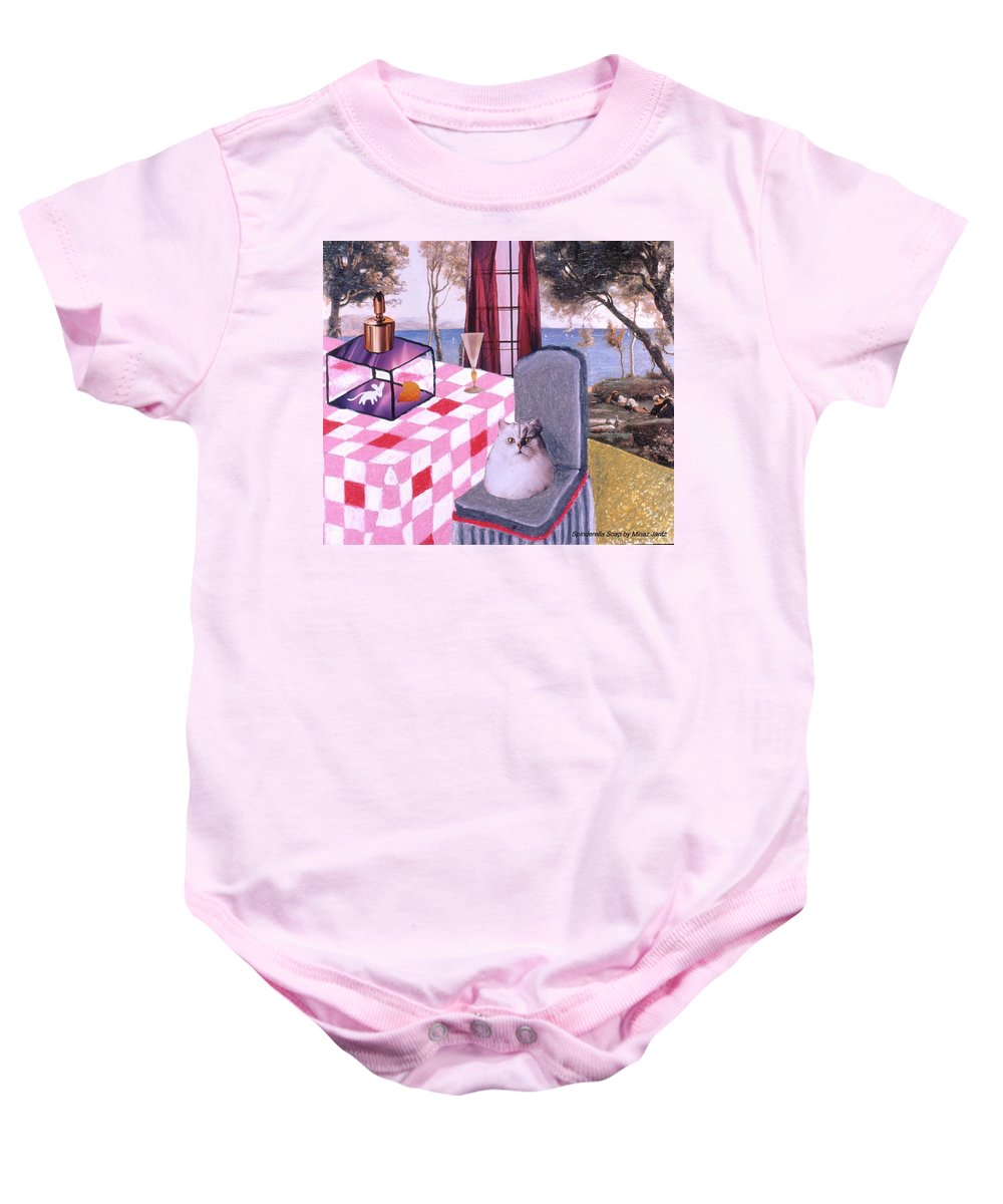 Cat Baby Onesie featuring the drawing Soap Scene #14 Mouse In A Cage by Minaz Jantz