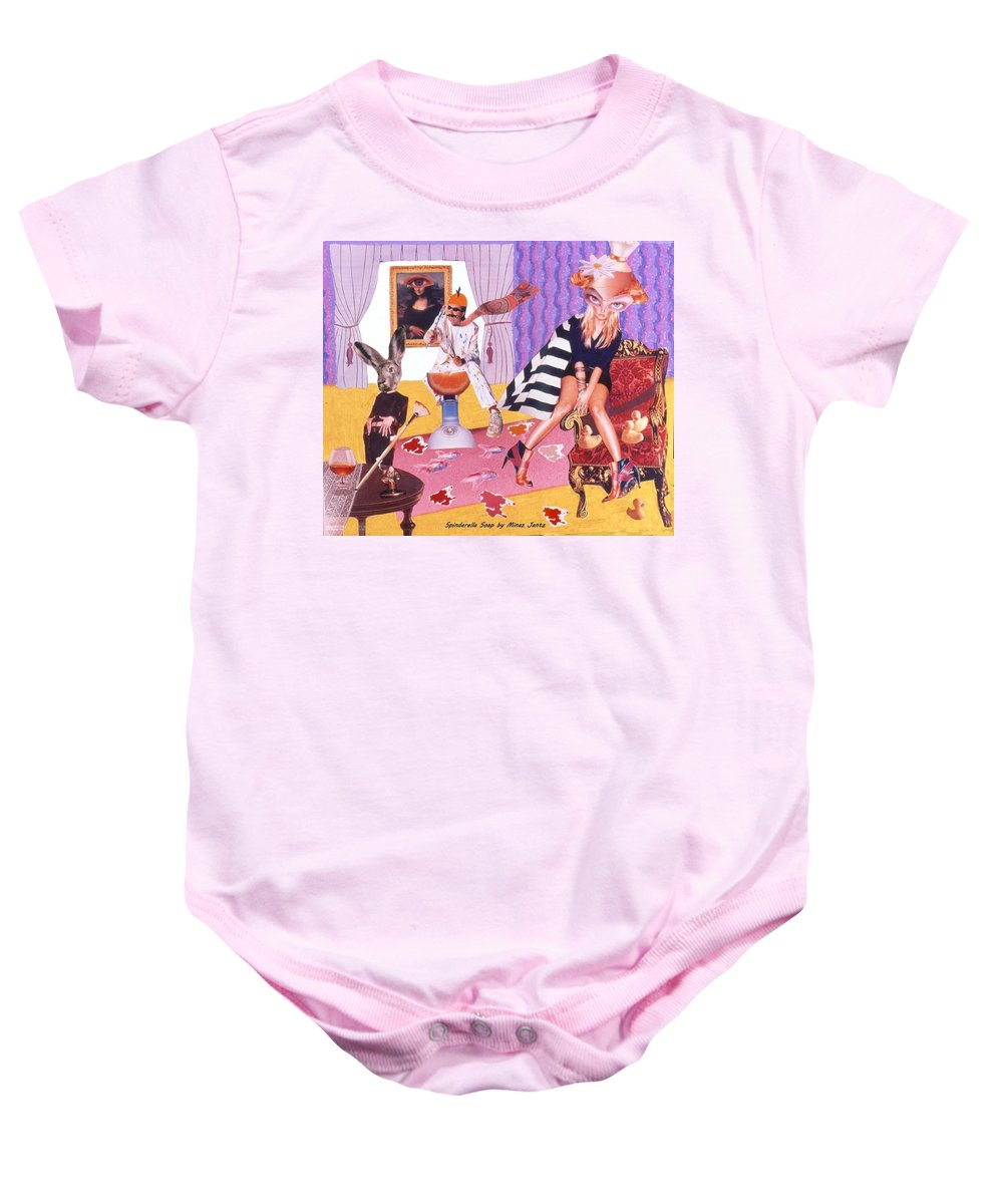 Mona Lisa Baby Onesie featuring the drawing Soap Scene #20 Galleria Symbiosis by Minaz Jantz
