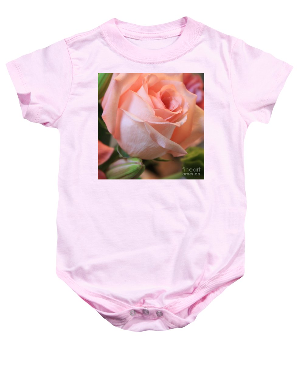 Pink Rose Baby Onesie featuring the photograph Soft Pink Rose by Carol Groenen
