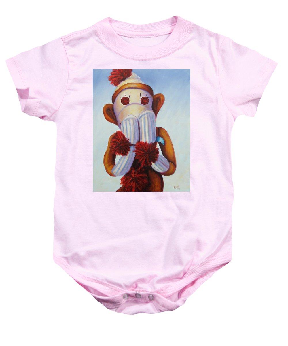 Children Baby Onesie featuring the painting Speak No Bad Stuff by Shannon Grissom
