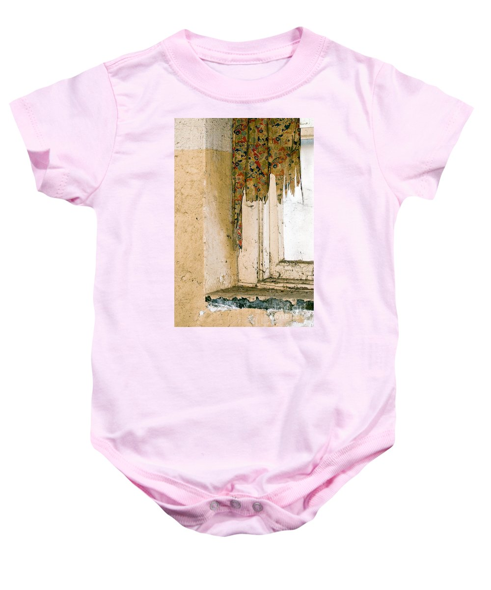 California History Baby Onesie featuring the photograph Spider Window by Norman Andrus