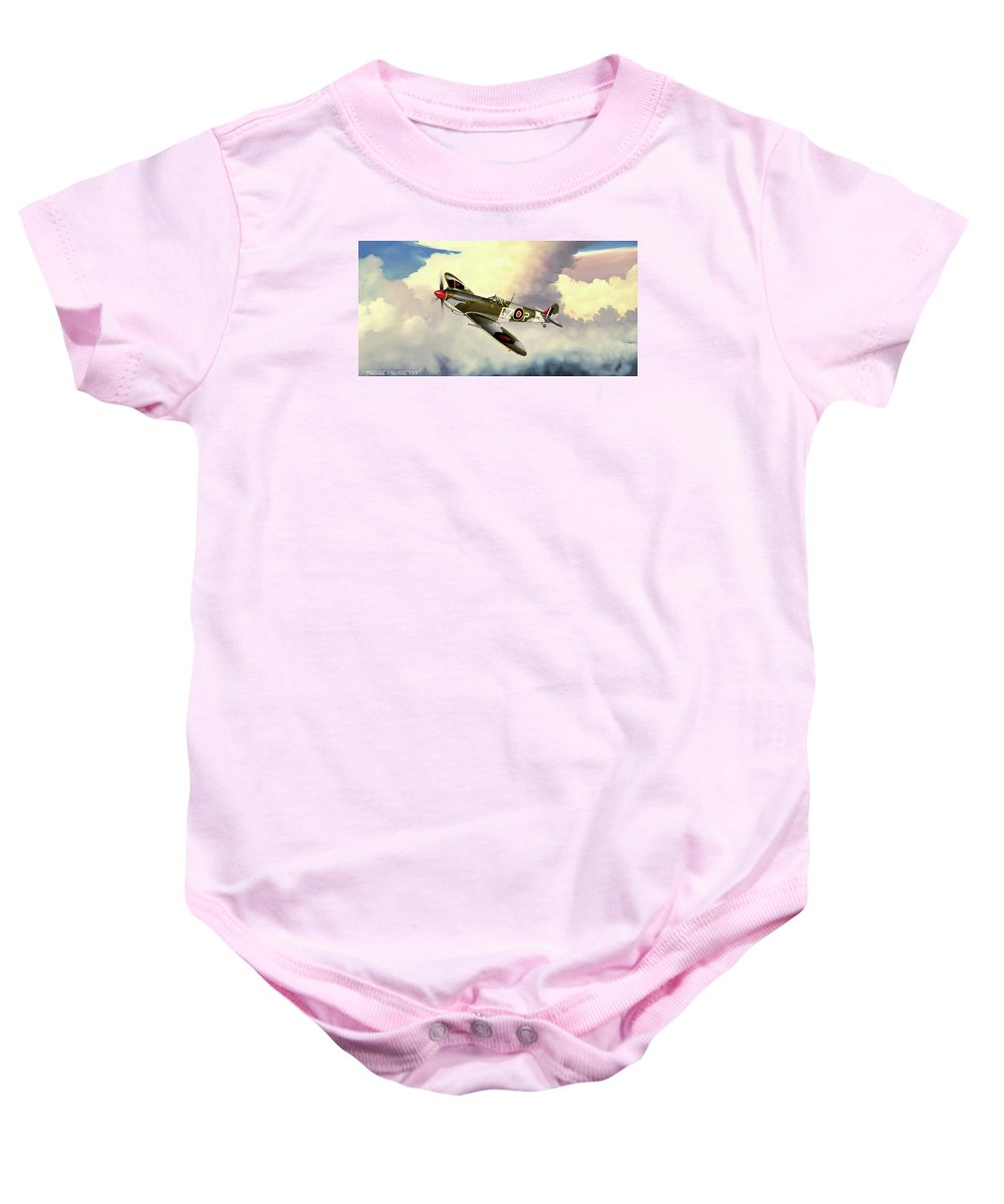 Military Baby Onesie featuring the painting Spitfire by Marc Stewart