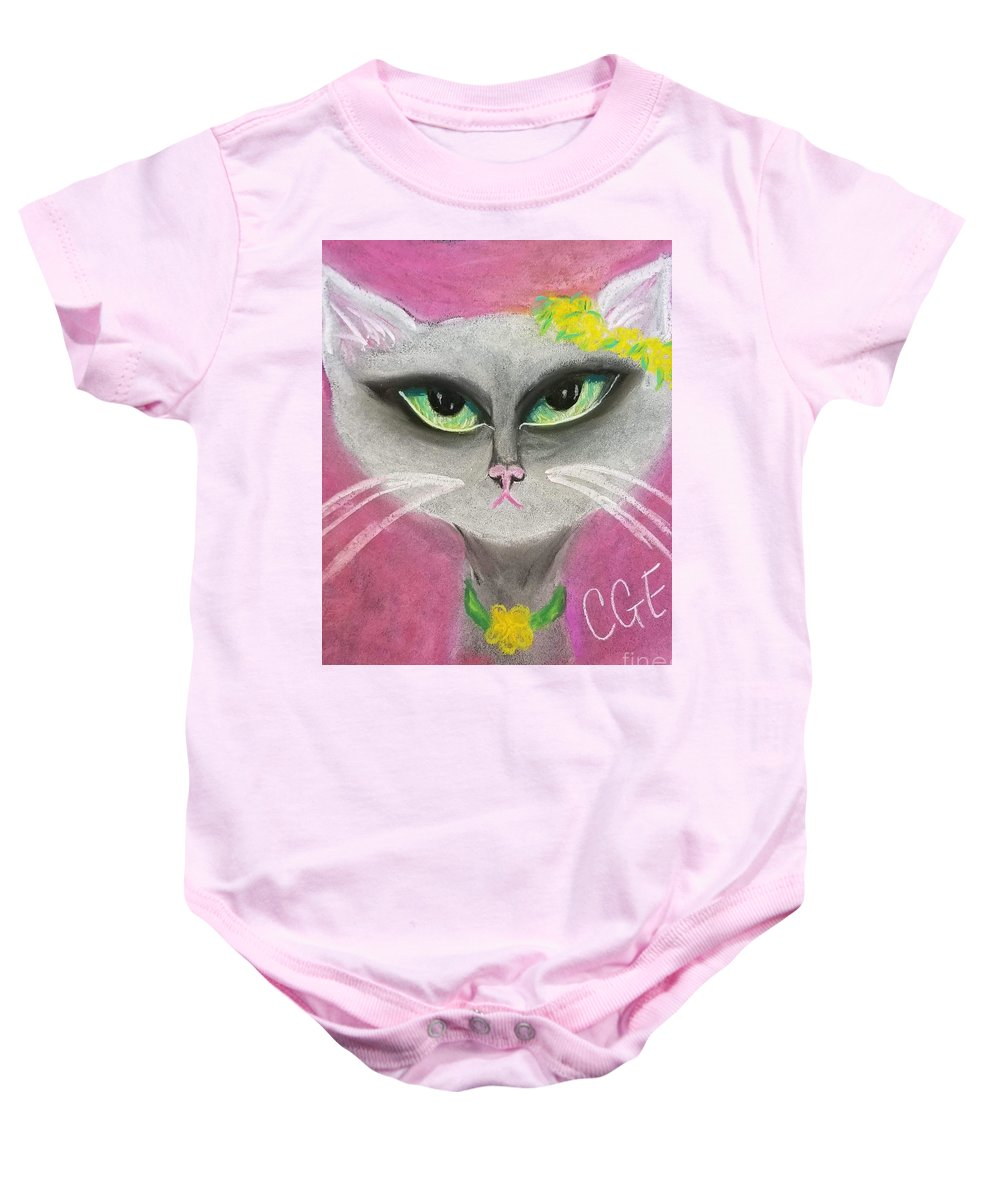 Spring Baby Onesie featuring the pastel Spring Cat by Crystal Elswick