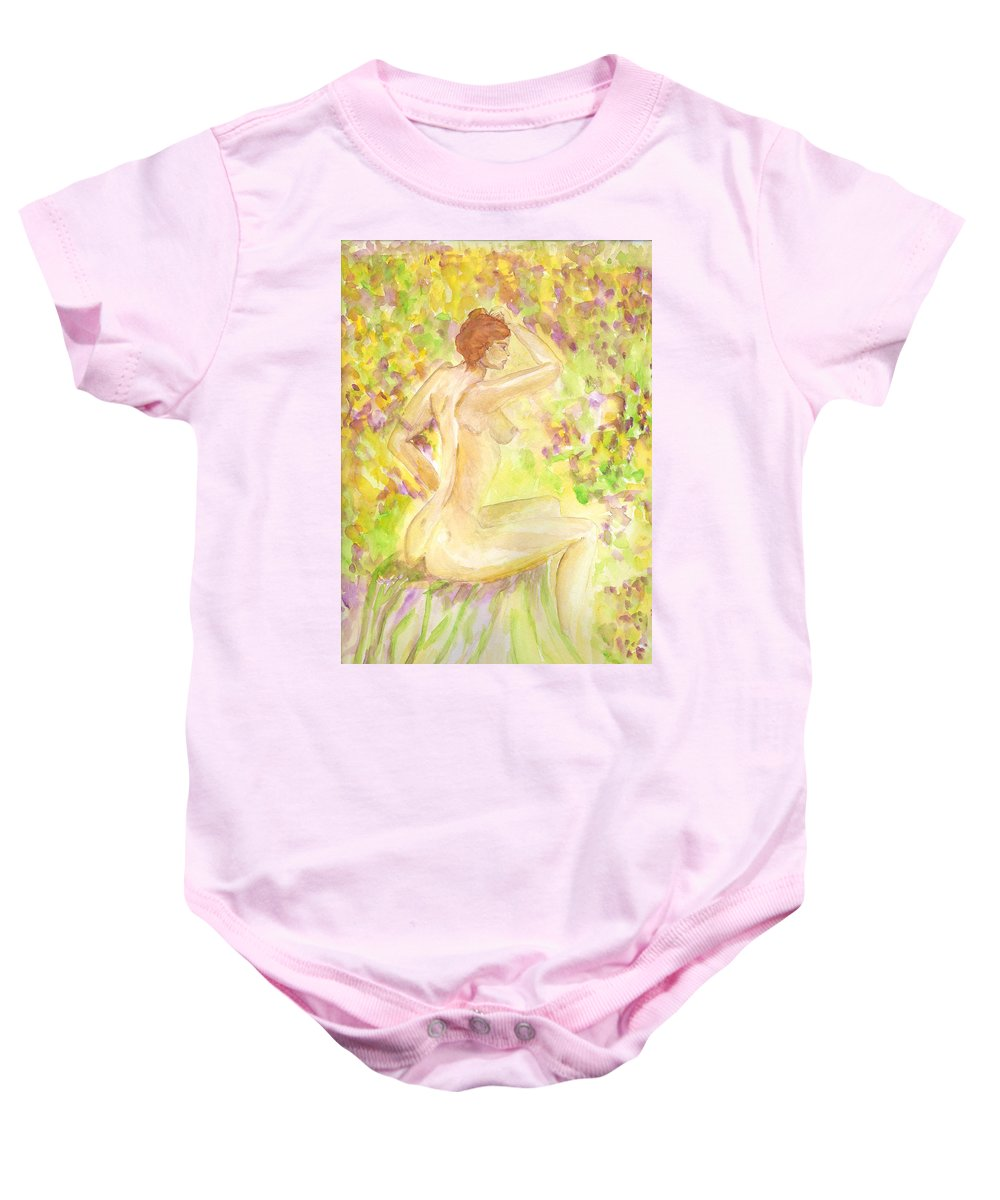 Woman Baby Onesie featuring the painting Spring Has Sprung by Donna Blackhall
