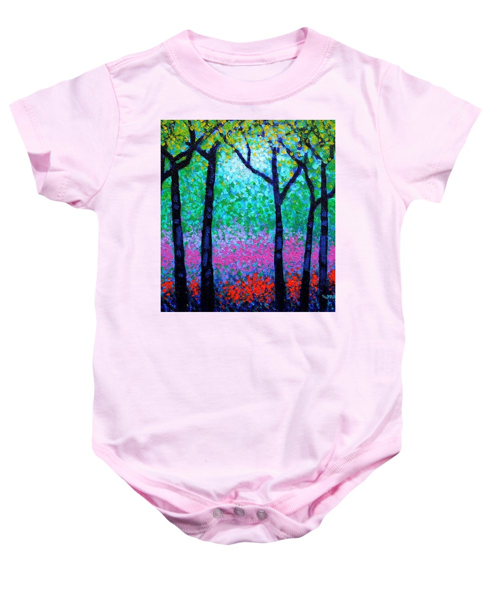 Landscape Baby Onesie featuring the painting Spring Woodland by John Nolan