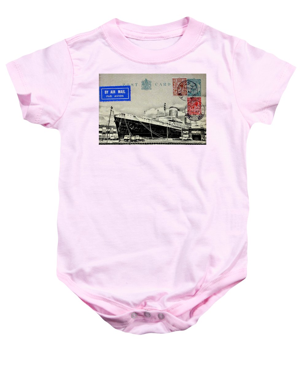Luxury Liner Baby Onesie featuring the photograph Ss United States - Post Card by Bill Cannon