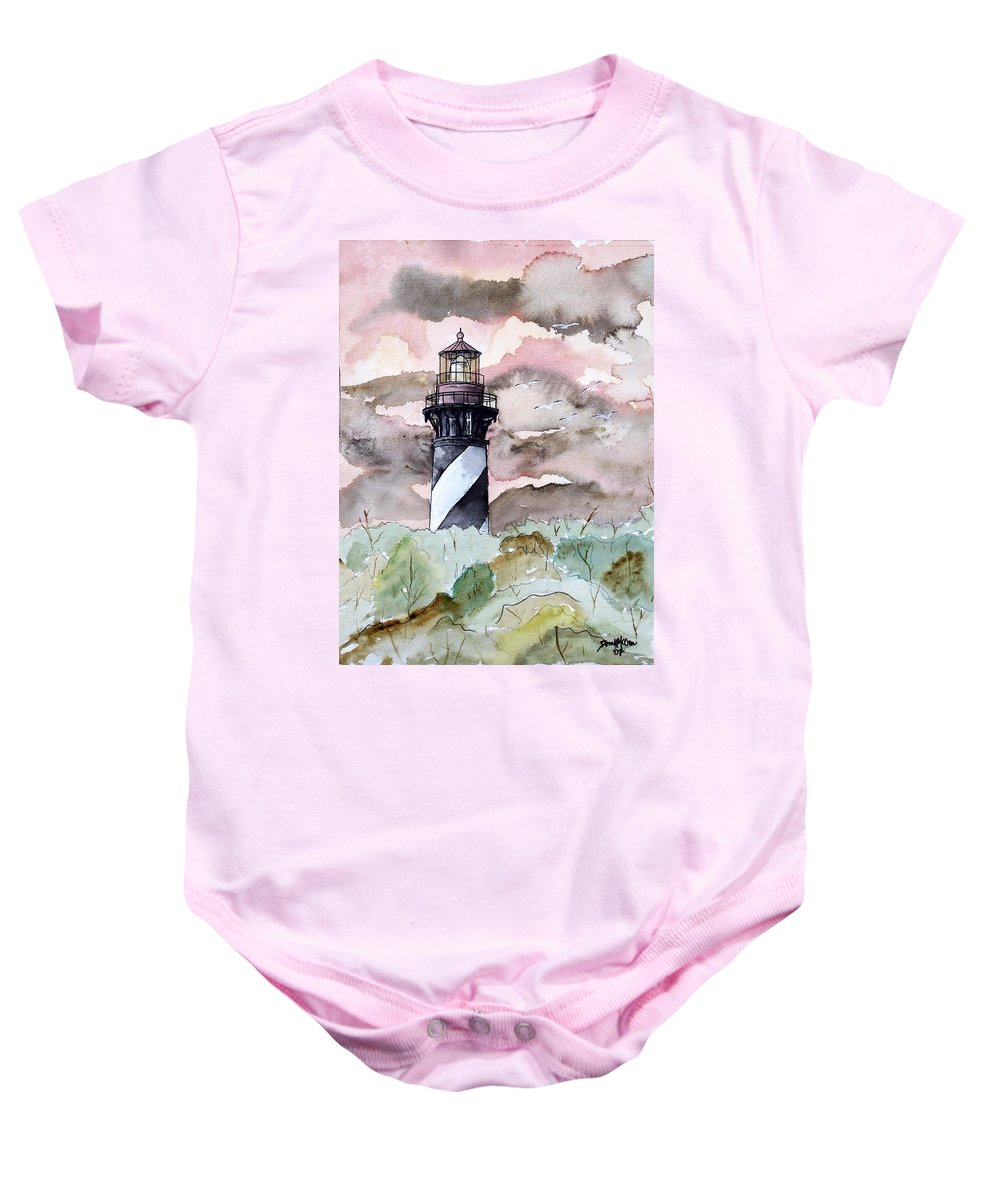 Lighthouse Baby Onesie featuring the painting St Augustine Lighthouse by Derek Mccrea
