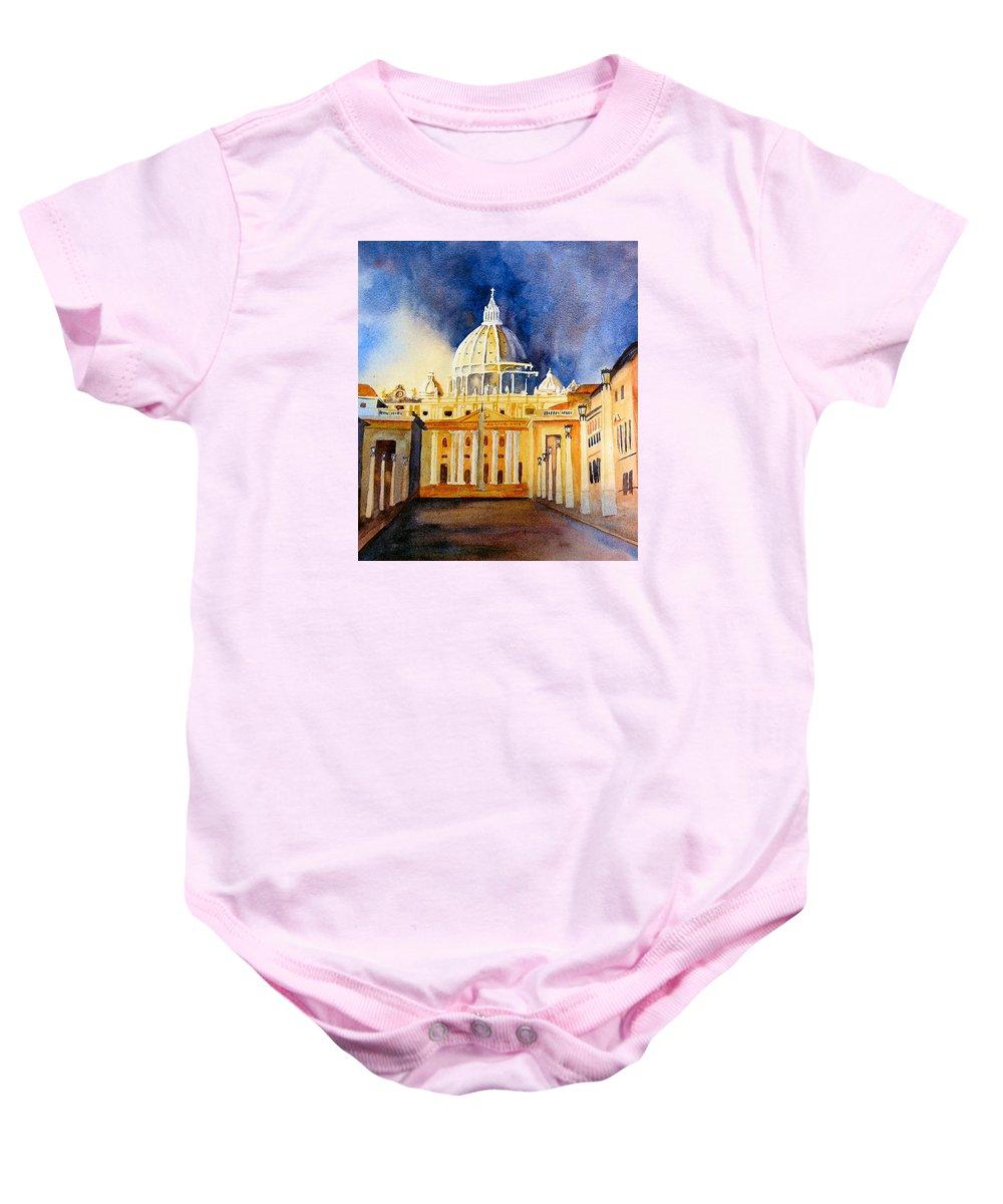 Vatican Baby Onesie featuring the painting St. Peters Basilica by Karen Stark