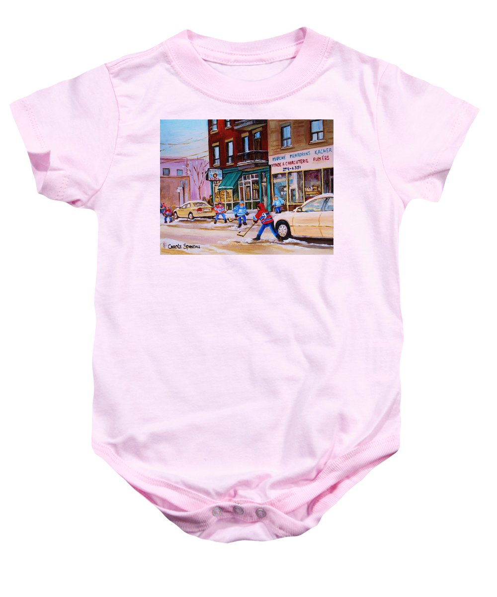 Montreal Baby Onesie featuring the painting St. Viateur Bagel With Boys Playing Hockey by Carole Spandau