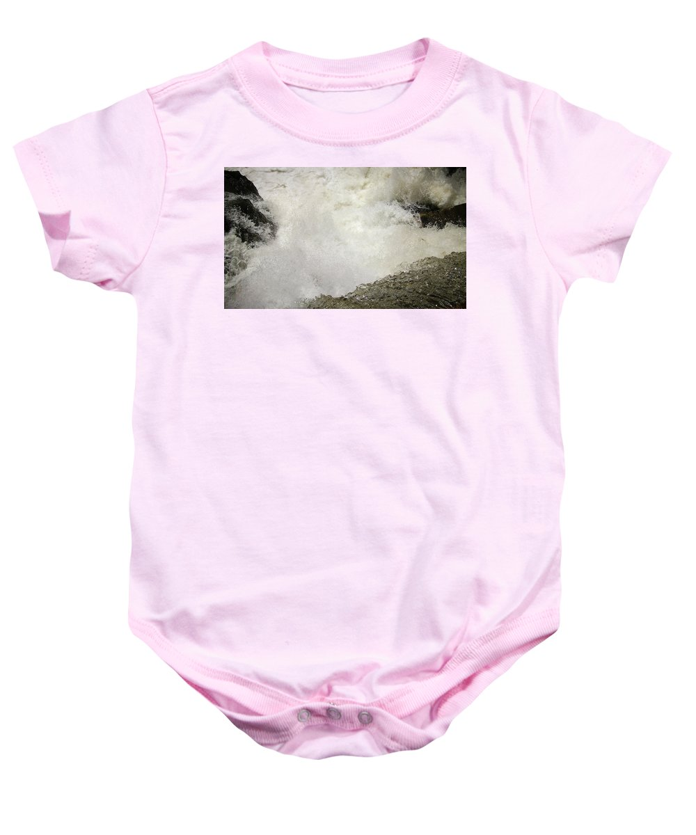 Waterfall Baby Onesie featuring the photograph Standing On A Waterfall by Trance Blackman