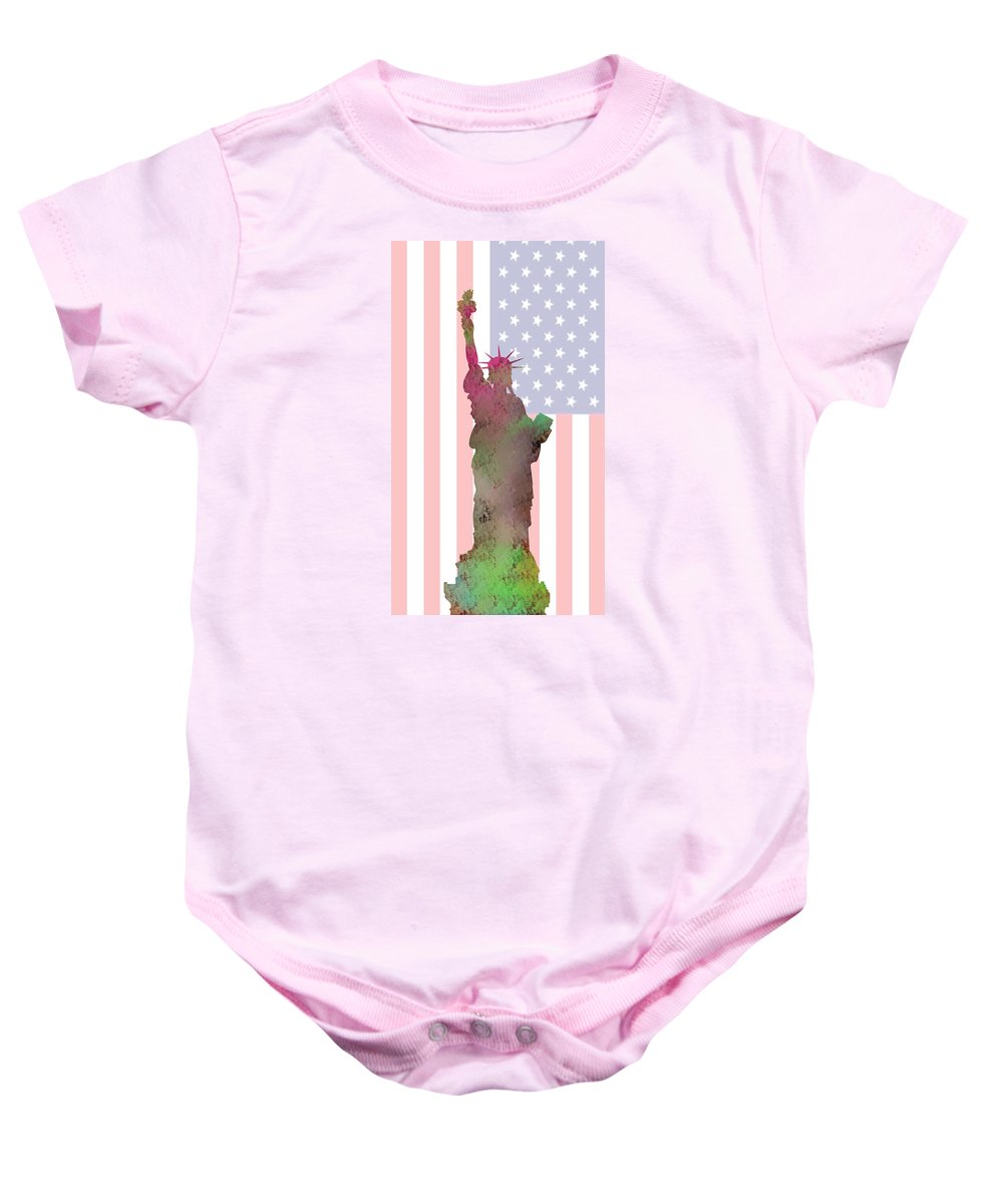 Statue Of Liberty Baby Onesie featuring the digital art Statue Of Liberty by Khajohnpan Sauychalad