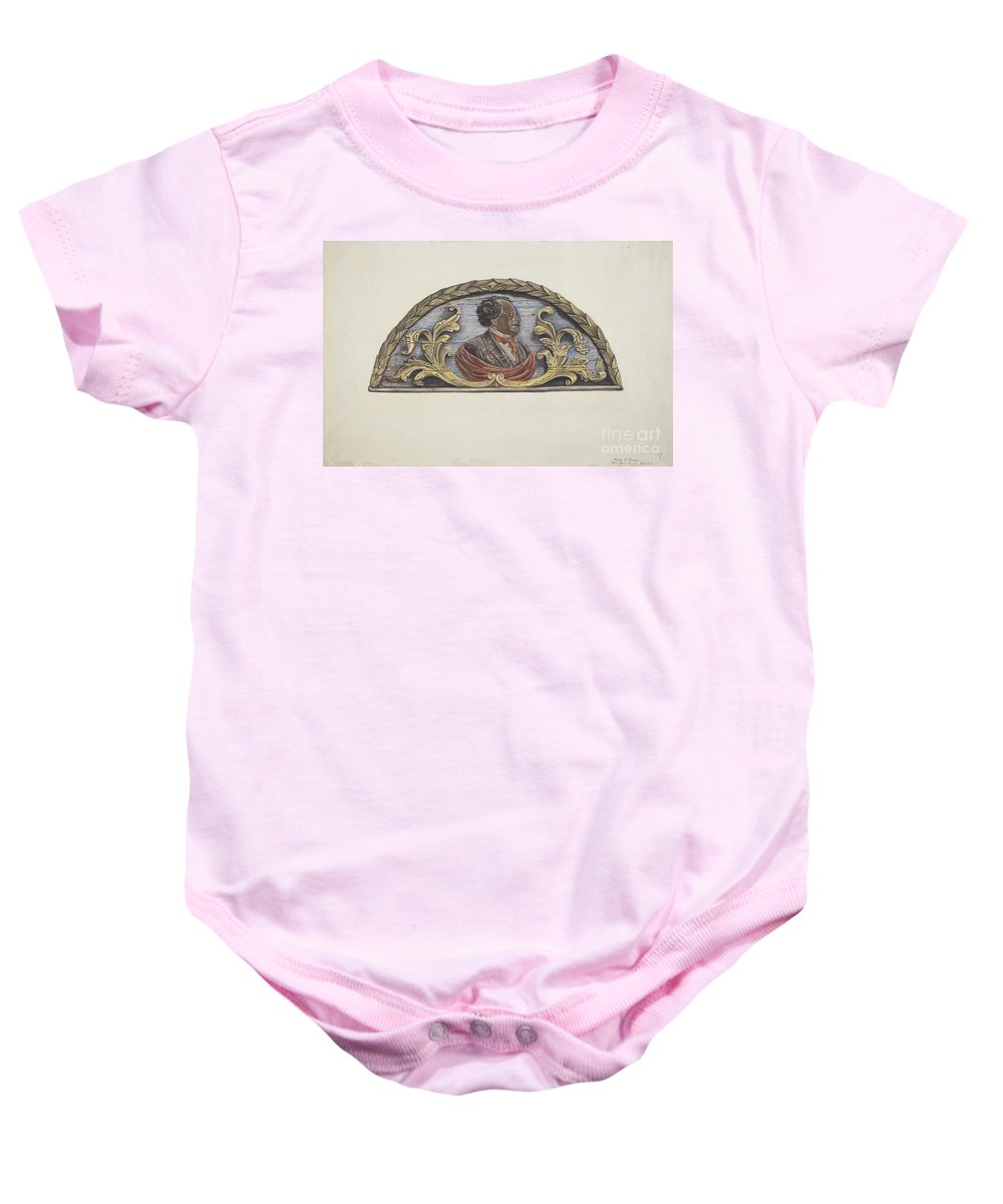 "Baby Onesie featuring the drawing Stern Board From Ship ""john Penrose"" by Mary E. Humes"