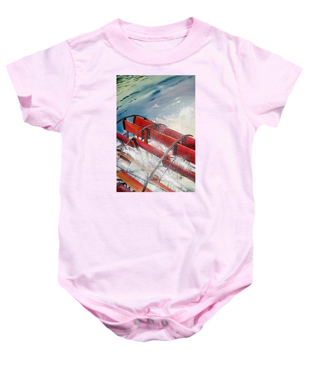 Paddlewheeler Baby Onesie featuring the painting Sternwheeler Splash by Karen Stark