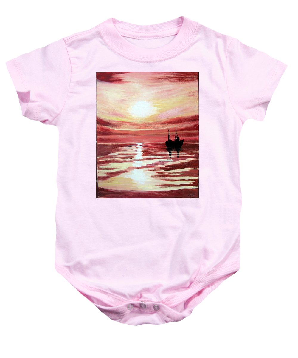 Seascape Baby Onesie featuring the painting Still Waters Run Deep by Marco Morales