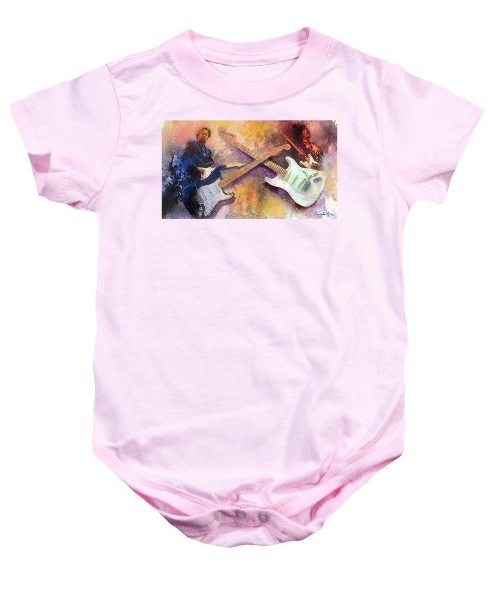 Eric Clapton Baby Onesie featuring the painting Strat Brothers by Andrew King