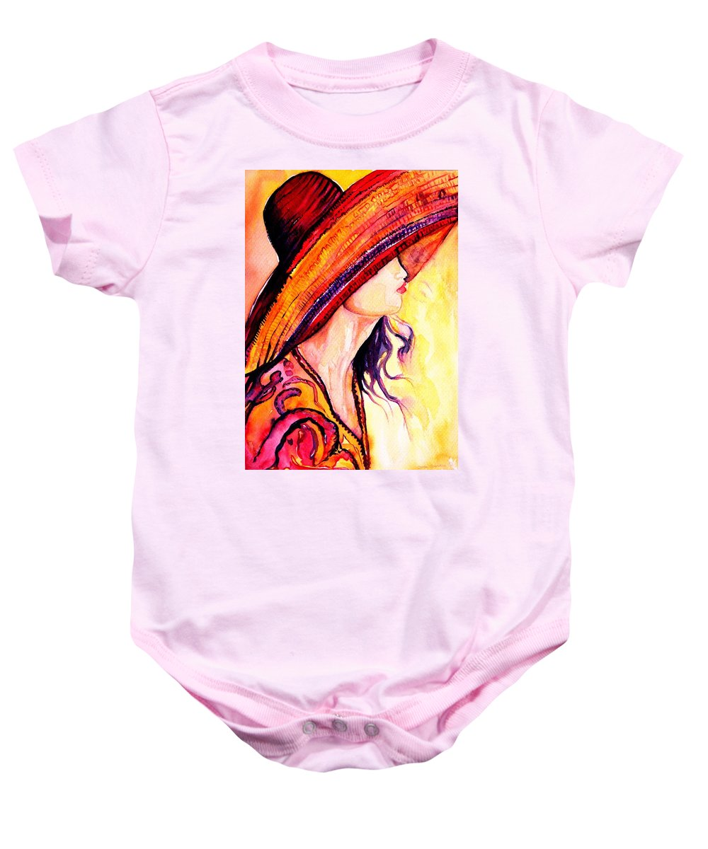 Elegant Lady Baby Onesie featuring the painting Summer Hat by Carole Spandau