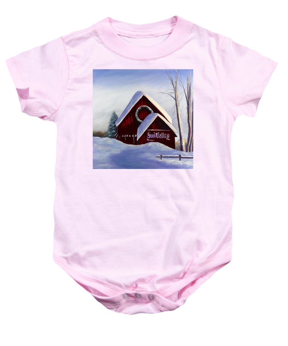 Landscape Baby Onesie featuring the painting Sun Valley 3 by Shannon Grissom