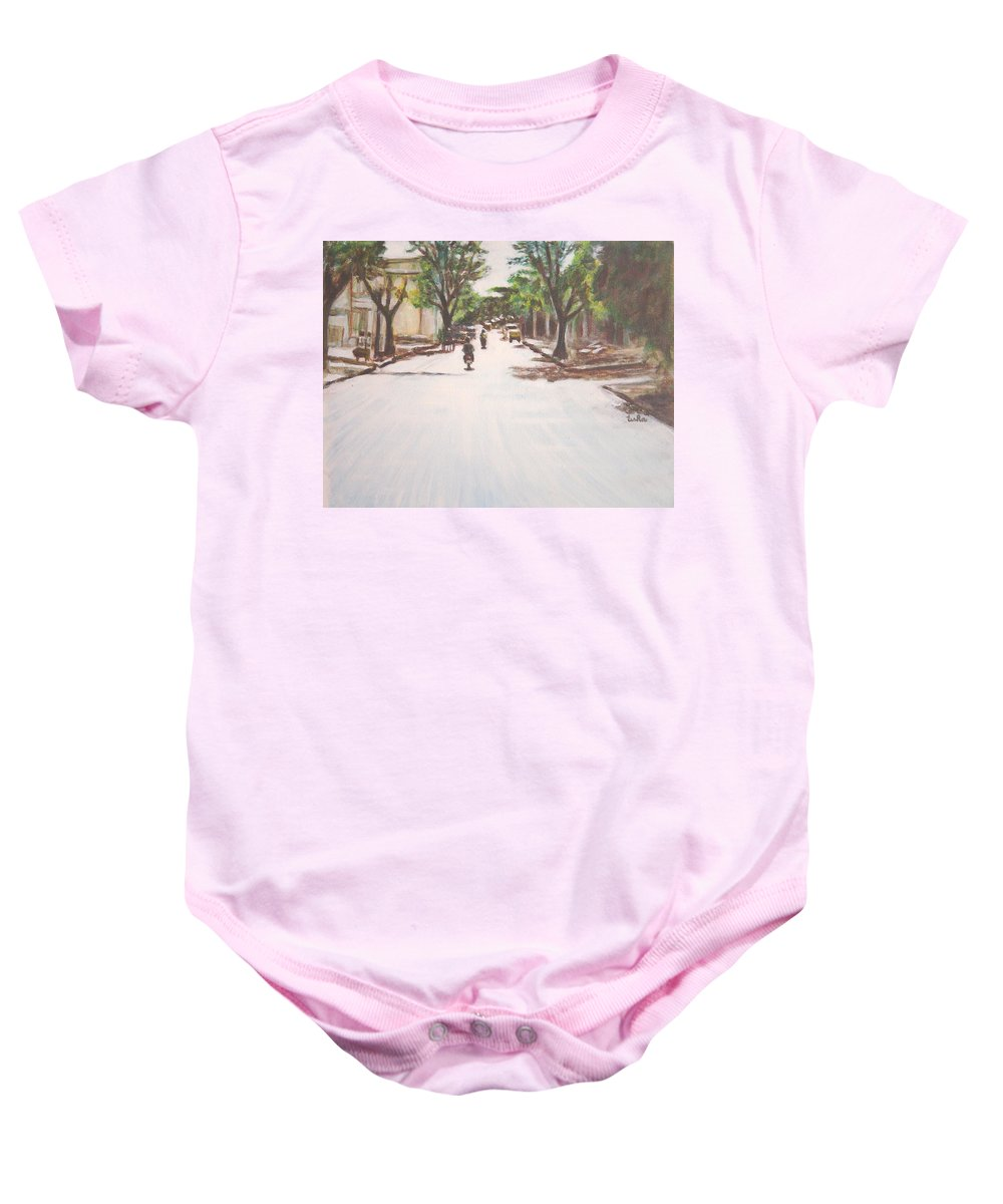 Sun Baby Onesie featuring the painting Sunny Road by Usha Shantharam