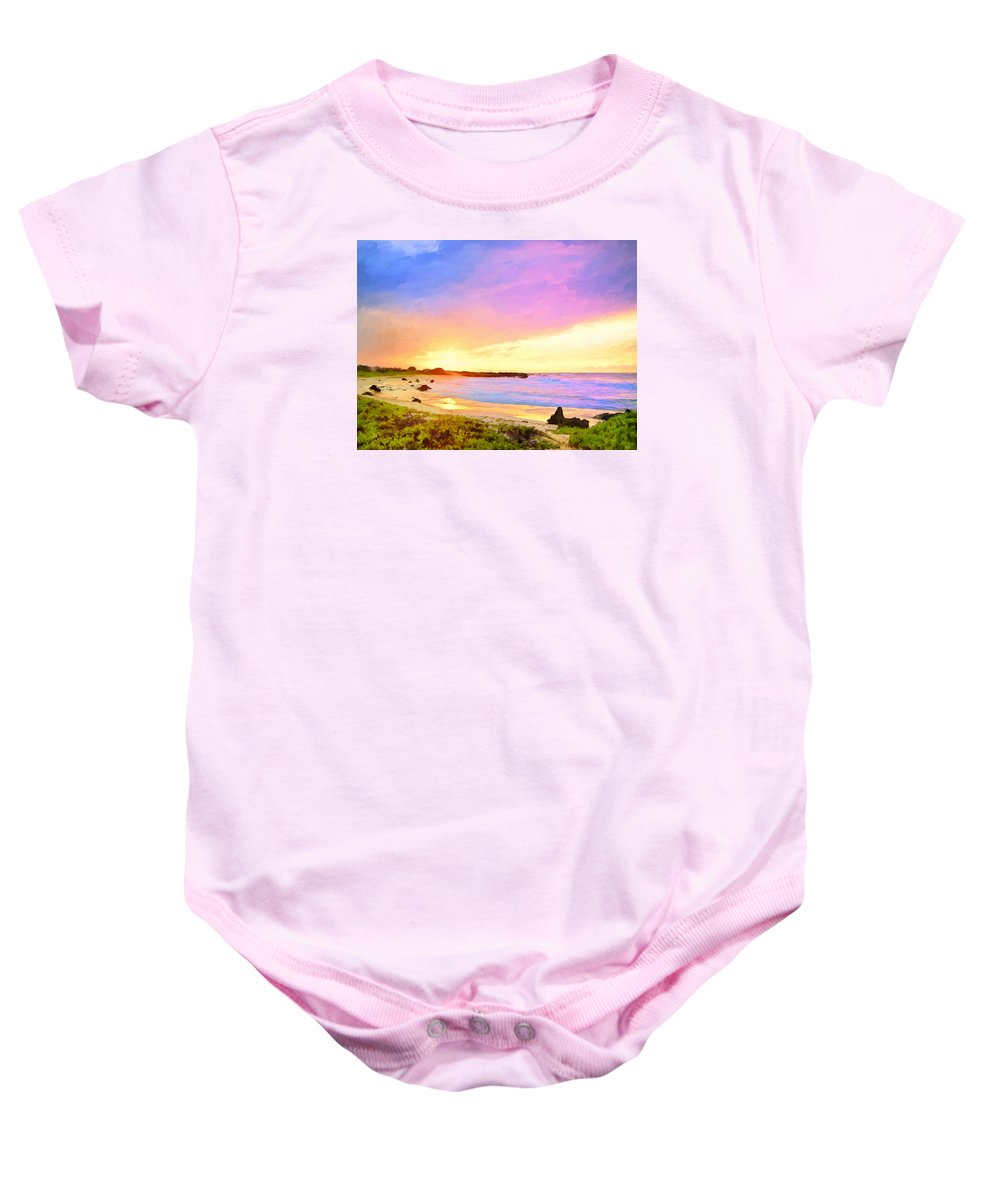 Hawaii Baby Onesie featuring the painting Sunset Walk by Dominic Piperata